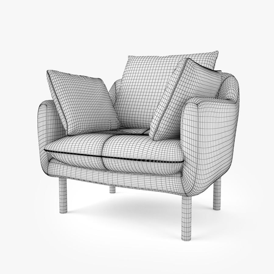 Jardan Andy Sofa and Armchair royalty-free 3d model - Preview no. 17