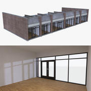 Strip mall store unit one with interior full 3d model