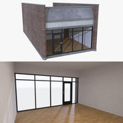 Strip mall store unit five with interior full 3d model