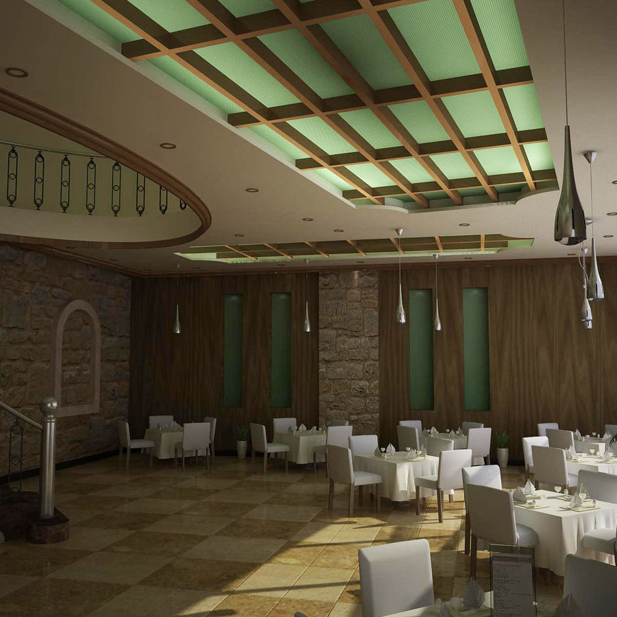 resturant royalty-free 3d model - Preview no. 2
