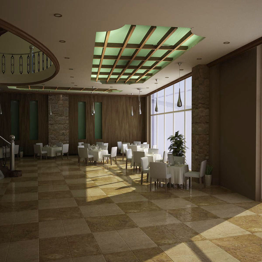 resturant royalty-free 3d model - Preview no. 4