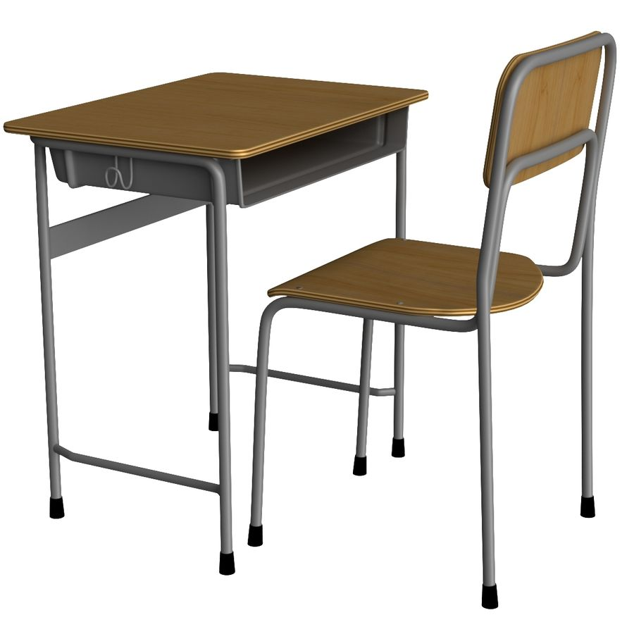 Japanese School desk royalty-free 3d model - Preview no. 3