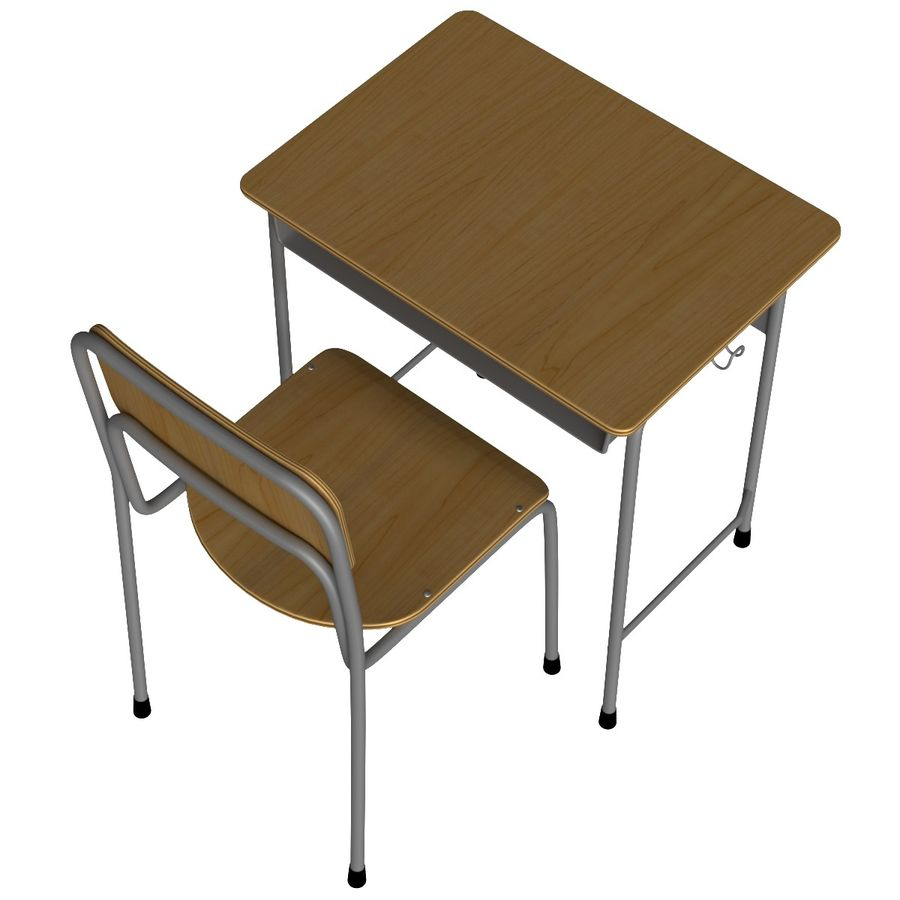 Japanese School desk royalty-free 3d model - Preview no. 5