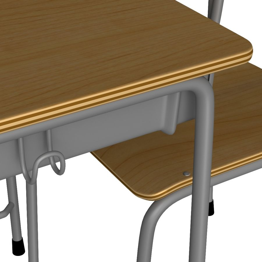 Japanese School desk royalty-free 3d model - Preview no. 2