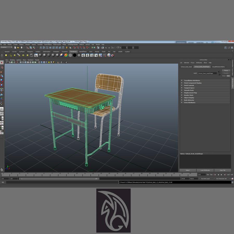 Japanese School desk royalty-free 3d model - Preview no. 9