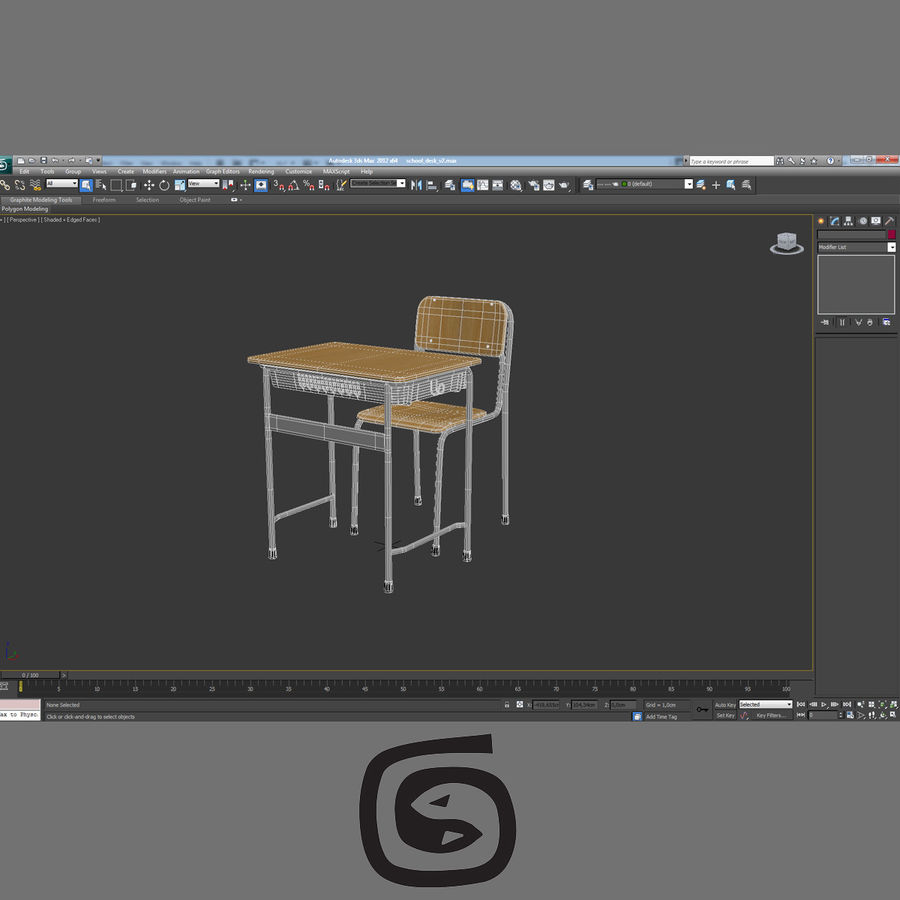 Japanese School desk royalty-free 3d model - Preview no. 8