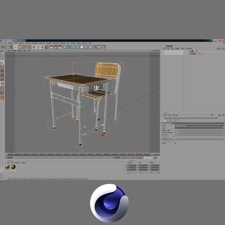 Japanese School desk royalty-free 3d model - Preview no. 10