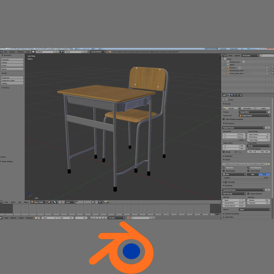 Japanese School desk royalty-free 3d model - Preview no. 7