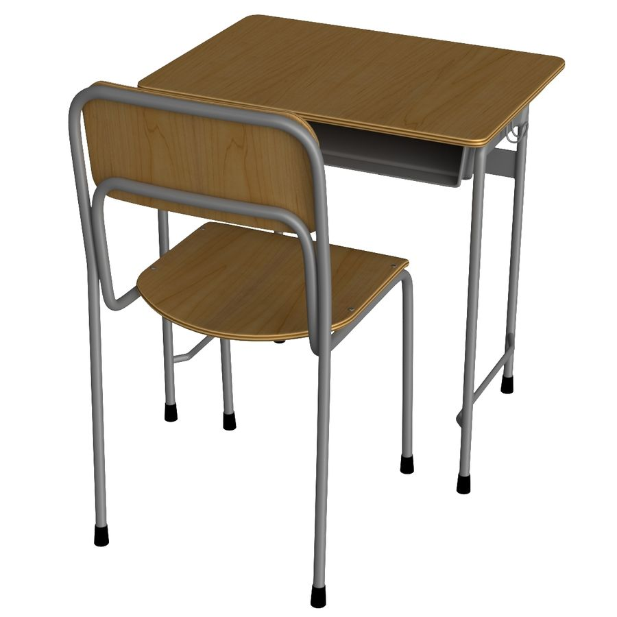 Japanese School desk royalty-free 3d model - Preview no. 4