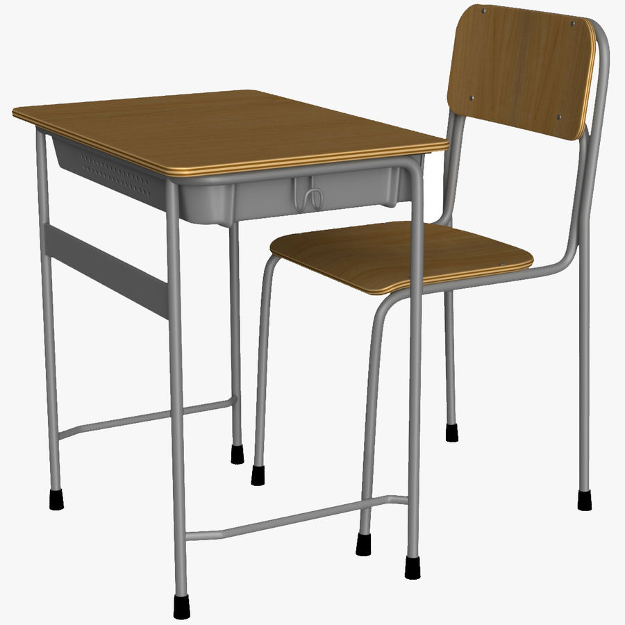 Japanese School desk royalty-free 3d model - Preview no. 1