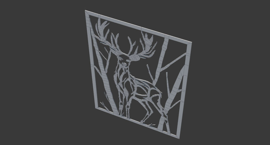 Metallwand Kunst Hirsch royalty-free 3d model - Preview no. 7