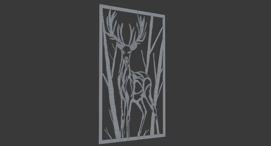 Metallwand Kunst Hirsch royalty-free 3d model - Preview no. 8