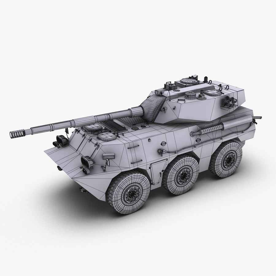 Niszczyciel czołgów PTL02 V1 royalty-free 3d model - Preview no. 30