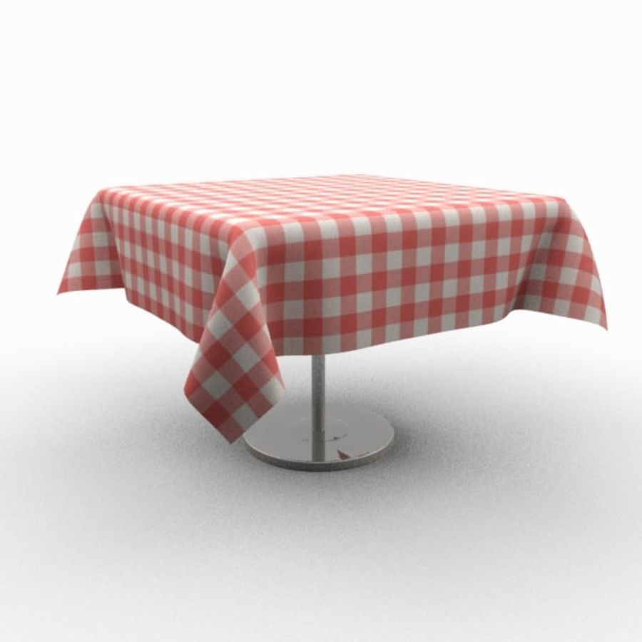 Masa örtüsü ile klasik ahşap masa royalty-free 3d model - Preview no. 3