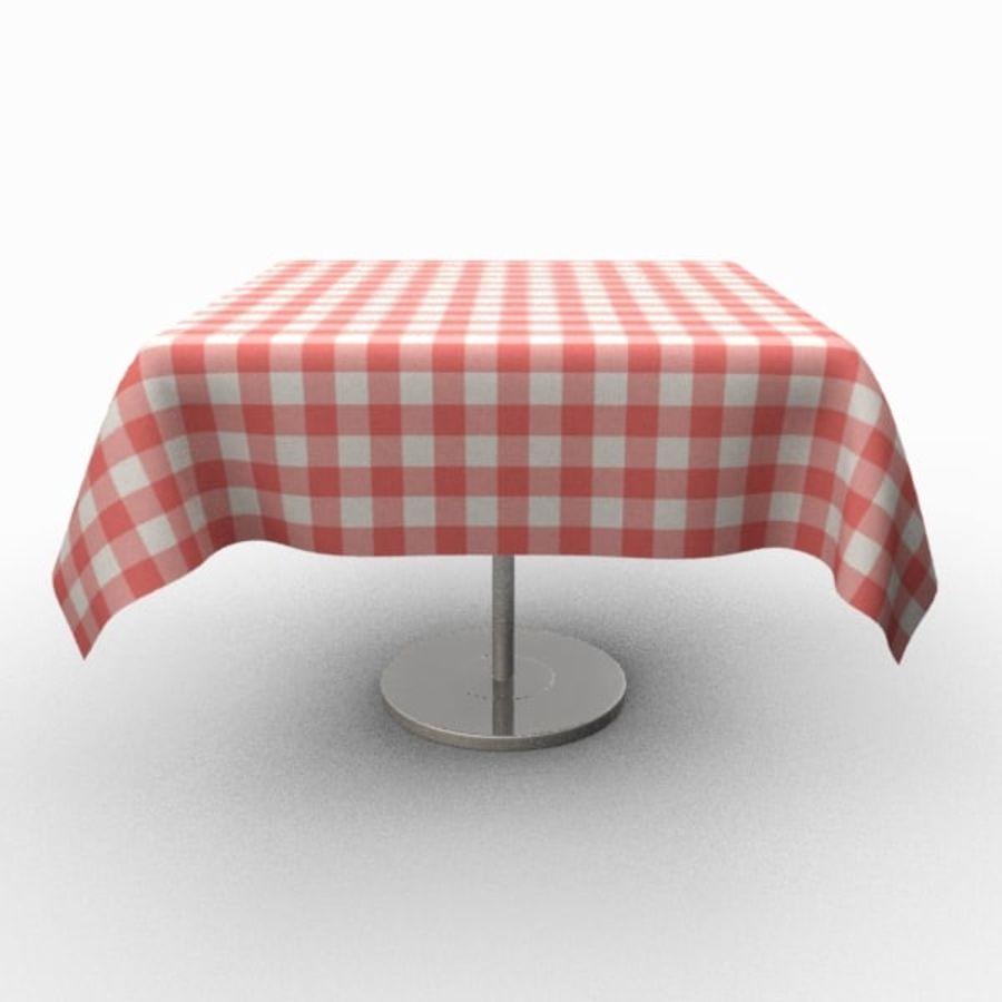 Masa örtüsü ile klasik ahşap masa royalty-free 3d model - Preview no. 2