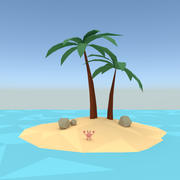 Low poly palm island 3d model