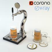 Model High Poly 3d kranu piwa gotowy na scenę Baru, Pubu lub Restauracji: szklanka do piwa i mata do piwa (renderowanie Vray i Corona) 3d model