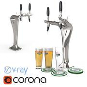 啤酒拍打眼镜蛇的高多边形3d模型与喜力啤酒杯准备用于酒吧,酒馆,咖啡厅或餐厅场景(Vray和Corona渲染) 3d model
