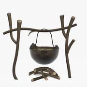 篝火和铁锅 3d model