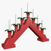 Nordic Candle Holder with Animated Flames 3d model