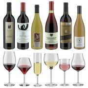 3D 모델 와인 세트 # 14 : 6 개의 다른 병 및 6 개의 다른 와인 잔, 쟁반, 와인 홀더 \ 스탠드 (Vray and Corona render) 3d model