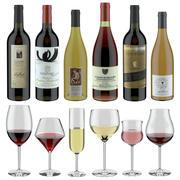 Conjunto de vinhos modelo 3D # 14: 6 garrafas diferentes e 6 copos de vinho diferentes, bandeja, suporte para vinho \ suporte (renderização Vray e Corona) 3d model