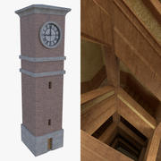 Clock tower two with interior full 3d model