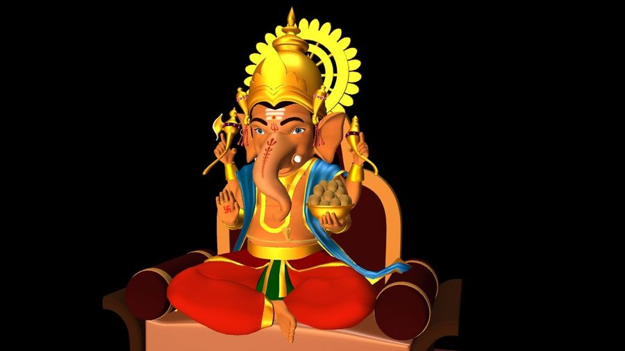 IndianGod Ganesh royalty-free 3d model - Preview no. 1