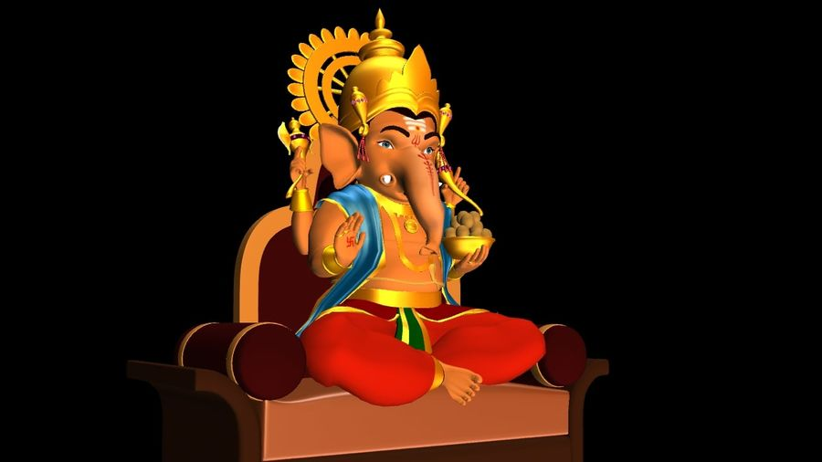 IndianGod Ganesh royalty-free 3d model - Preview no. 2
