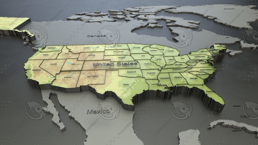 USA States and Capitals Map with names label 3D Model $19 ...