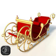 Christmas sleigh low poly 3d model