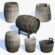 Old Wooden Barrels Set 3d model
