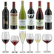 3D 모델 와인 세트 : 6 개의 다른 병 및 6 개의 다른 와인 잔, 트레이, 와인 홀더 \ 스탠드 (Vray and Corona render) 3d model
