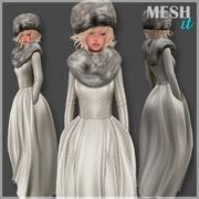 Sukienka z futrzanym kołnierzem 3d model