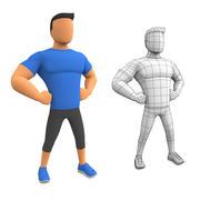 Cartoon Man Fitness 3d model
