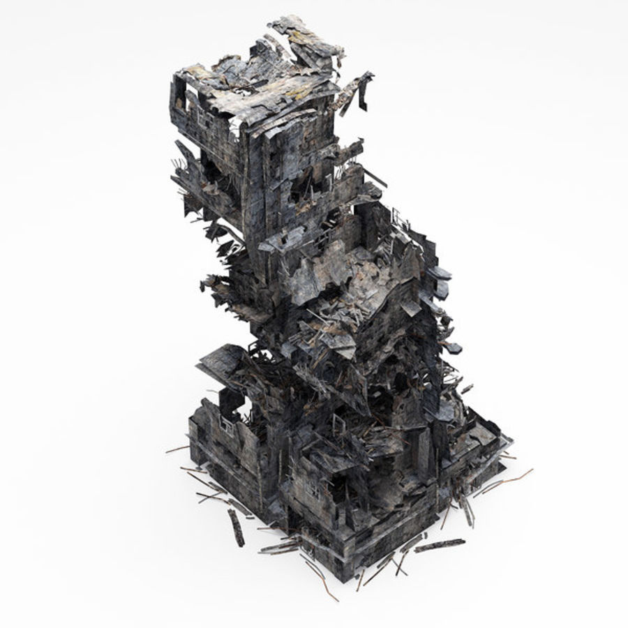 Edificio de ruinas royalty-free modelo 3d - Preview no. 7
