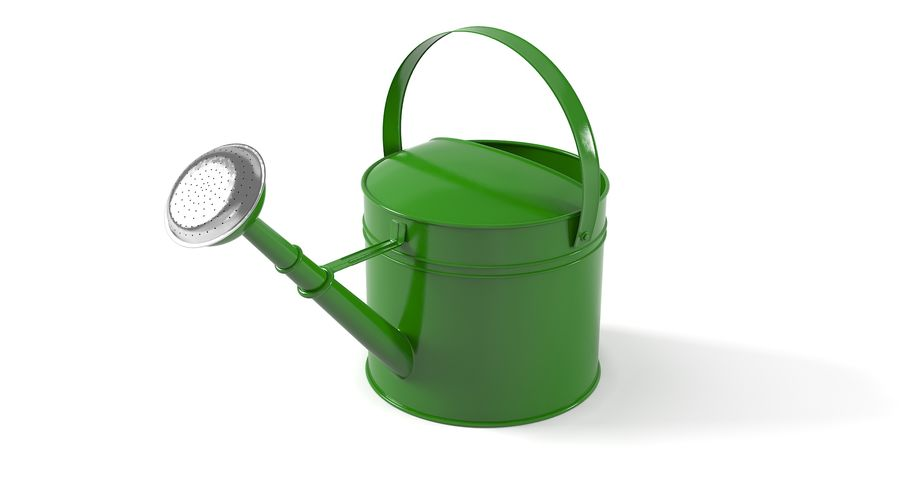 Green Watering Can royalty-free 3d model - Preview no. 3