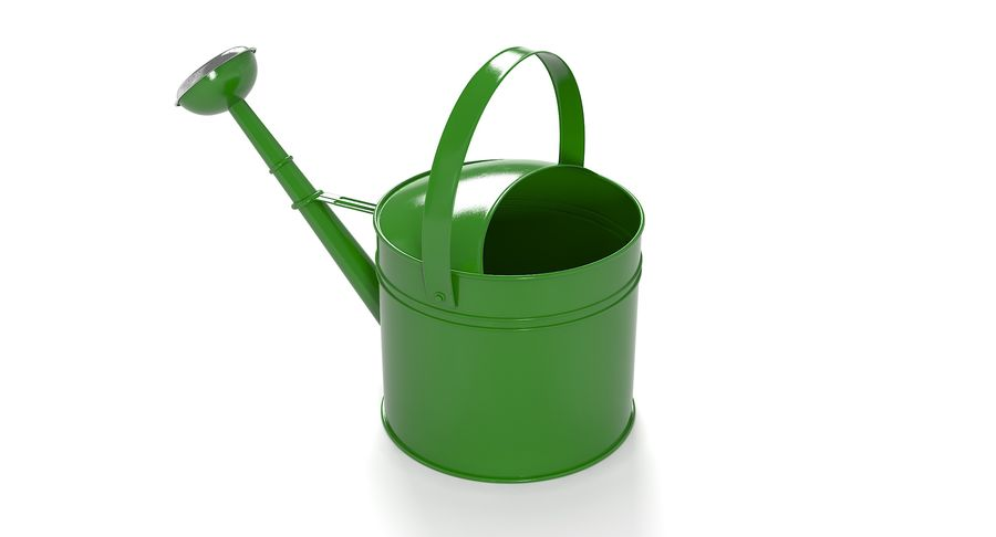 Green Watering Can royalty-free 3d model - Preview no. 4