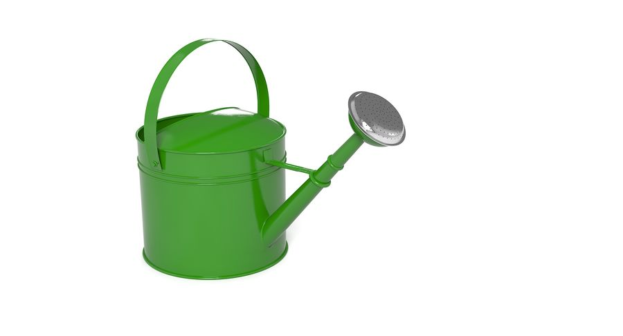 Green Watering Can royalty-free 3d model - Preview no. 6