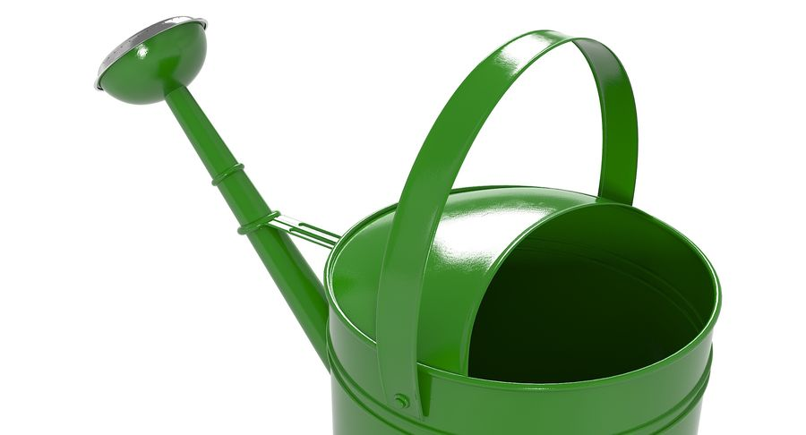 Green Watering Can royalty-free 3d model - Preview no. 8