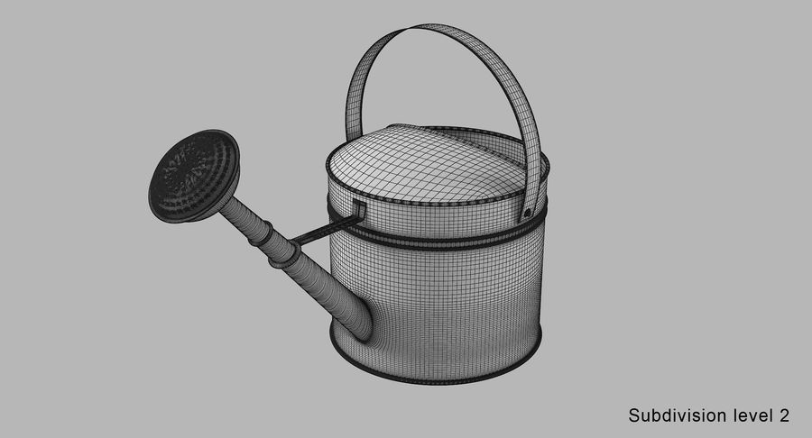 Green Watering Can royalty-free 3d model - Preview no. 11