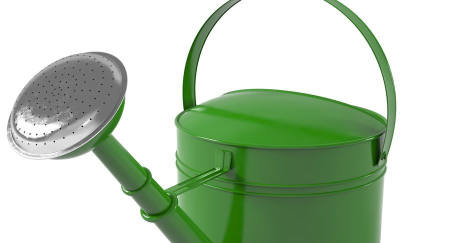 Green Watering Can royalty-free 3d model - Preview no. 7
