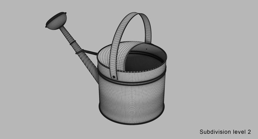 Green Watering Can royalty-free 3d model - Preview no. 12