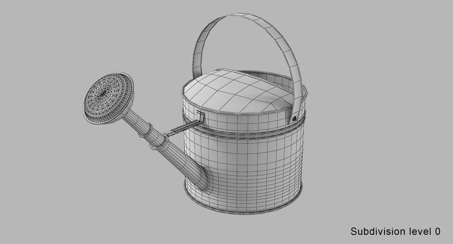 Green Watering Can royalty-free 3d model - Preview no. 9