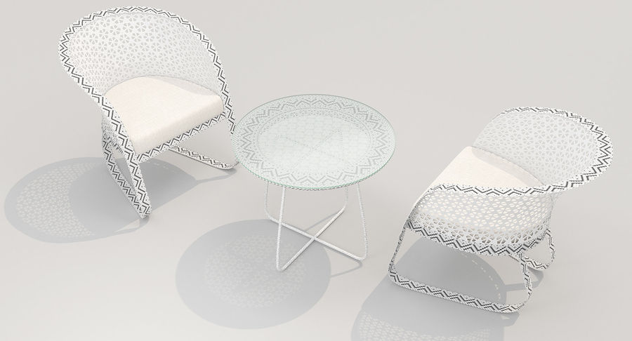 Poltrona lounge in vimini royalty-free 3d model - Preview no. 2