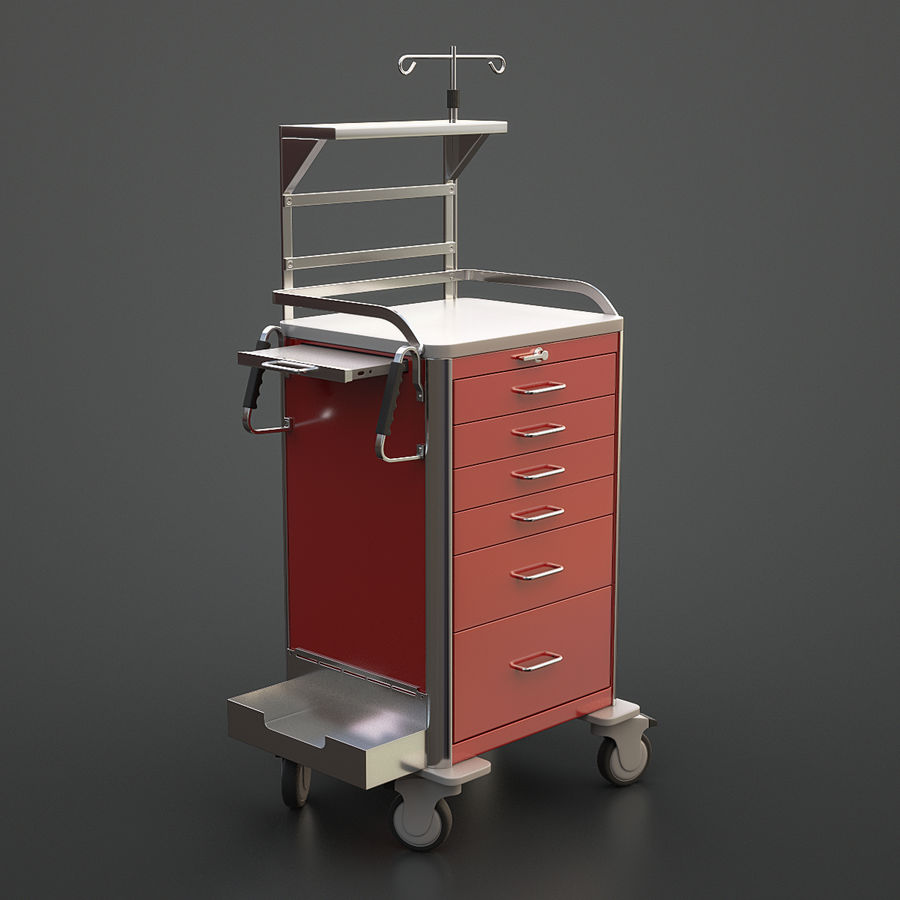Medical Crash Cart royalty-free 3d model - Preview no. 2