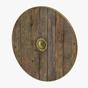 Средневековый деревянный щит 3d model