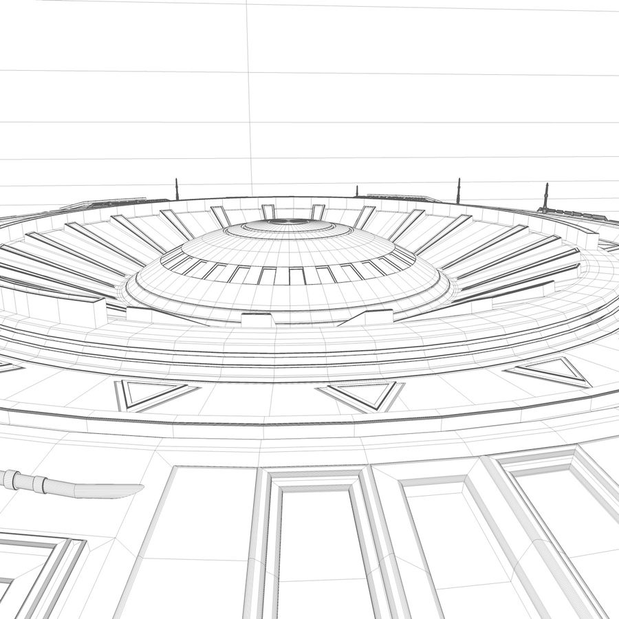 UFO Spaceship royalty-free 3d model - Preview no. 8