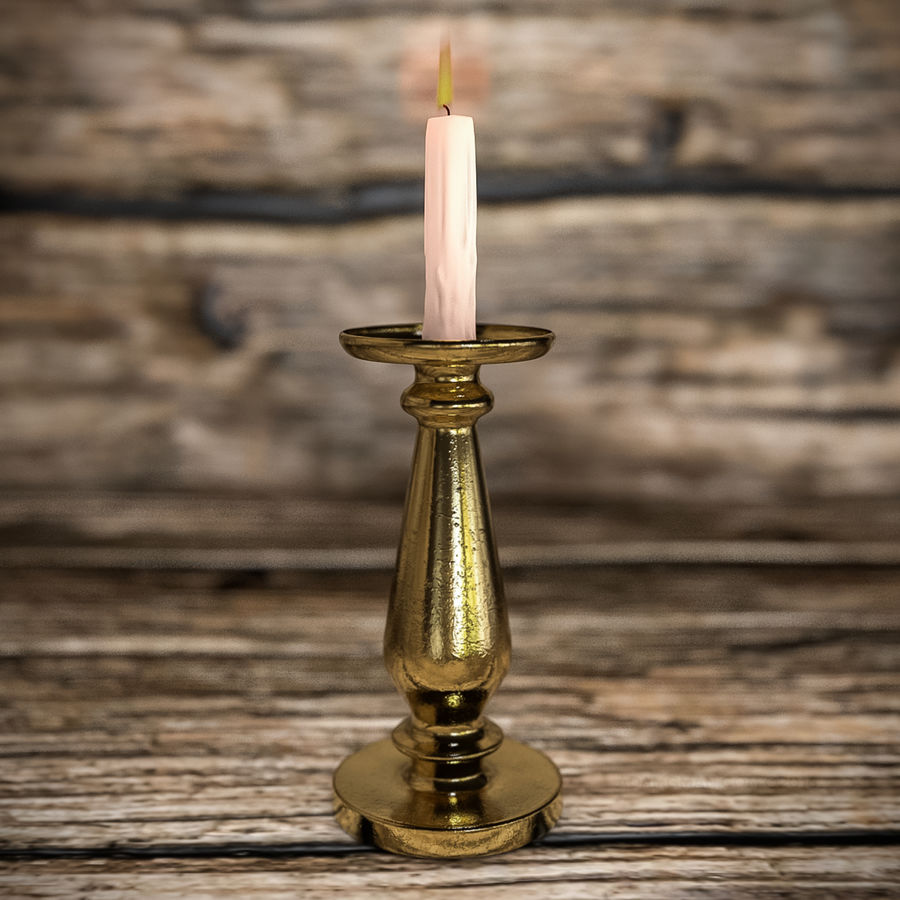 Antique Candle Holder with Lit Candle royalty-free 3d model - Preview no. 2