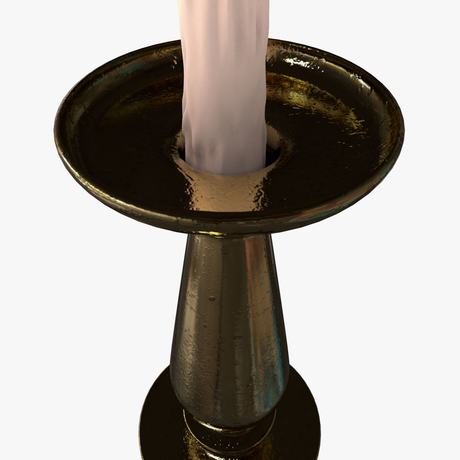 Antique Candle Holder with Lit Candle royalty-free 3d model - Preview no. 3